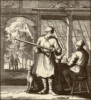 Kupferstich: Kunde begutachtet ein Schwert beim Schwertfeger