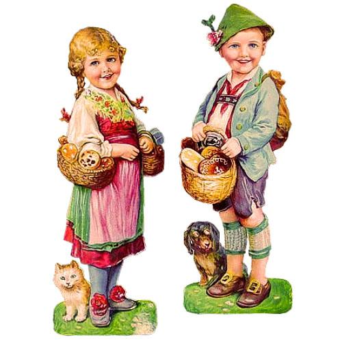2 Glanzbilder: Mädel und Bub mit Lebkuchenkörben