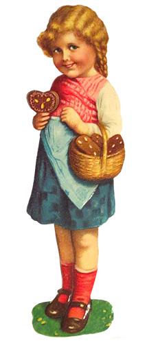 Glanzbild: Mädchen mit Lebkuchenkorb am Arm - 1900
