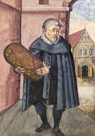 Buchmalerei: Stüber steht auf vor einem Torbogen und hält eine große Lebkuchenform in Händen - 1624