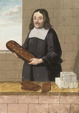 Buchmalerei: Lierdt steht eine Lebkuchenform haltend an niedriger Mauer, auf der Lebkuchen und verschnürte Pakete liegen - 1677