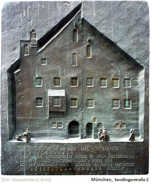 Kupferschild mit reliefartiger Darstellung des ehemaligen Hauses