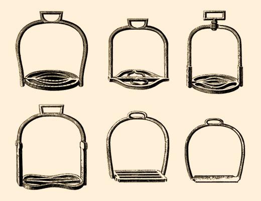Grafik: sechs verschiedene Steigbügel - 1763