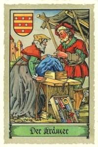 Farblitho: Krämer bietet unter Zeltplane verschiedenste Sachen an - 1575