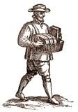 Holzstich: Mann trägt große Käsestücken in Handkorb