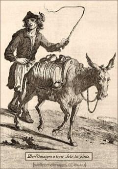 Holzstich: Händler treibt Esel mit Essigfässchen vor sich her - 18. Jh