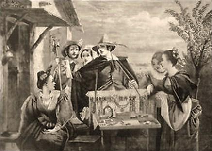 Litho: Frauen umringen Händler auf Straße, um Waren im Bauchladen zu sehen - 1866