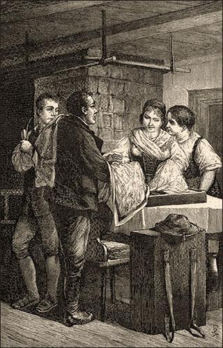 Holzstich: zwei Frauen begutachten an Stubentisch Tücher von Hausirer - 1885