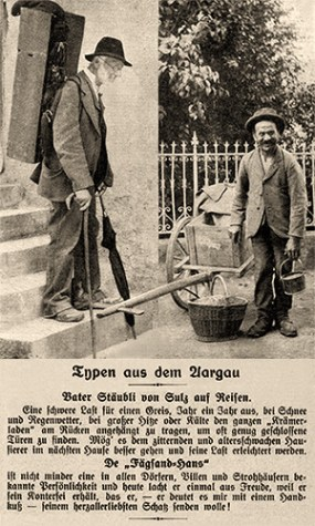 sw Foto: Stäubli mit Rückenschränkchen und Fägesand mit Handwagen - 1909, Aargau