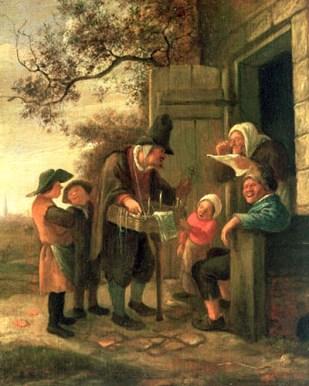 Gemälde: holländischer Wanderhändler vor einer Hütte, umringt von Frauen und Kindern - 1650