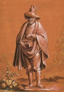 Gemälde: Mann mit Umhang, großem Schhlapphut und kleinem Bauchladen - 1690