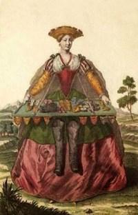 Farblitho: Frau bietet mittels Bauchladen Schuhe feil - 1750