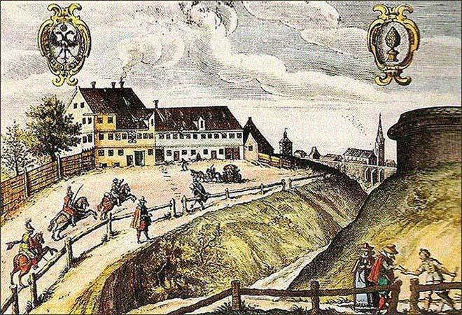 kolorierter Kupferstich: Augsburger Poststation