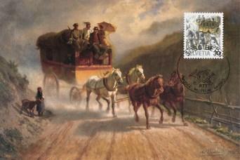 Gemälde auf Künstlerkarte: Postkutsche eilt vor einem aufziehendem Unwetter über Gebirgsweg