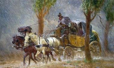 Gemälde: Dreispänner-Postkutsche über Land bei Platzregen - 1923