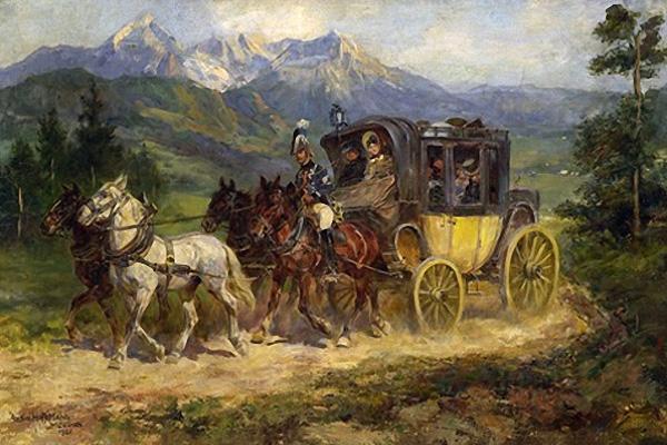 Gemälde: Reisepostkutsche bergauf unterwegs auf holprigem Gebirgspfad