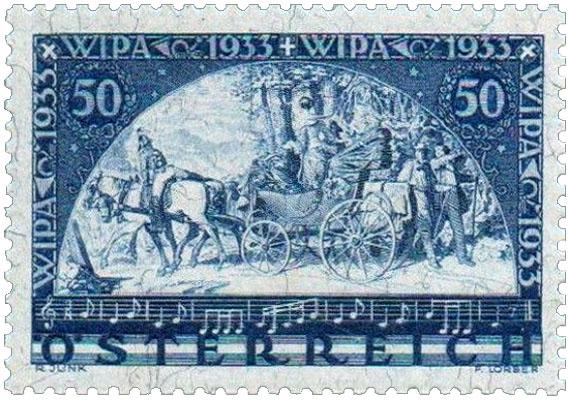 Briefmarke: Reisende beim Verlassen einer Postkutsche, Noten