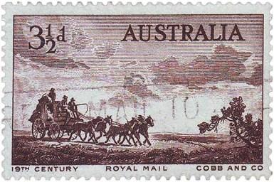 Briefmarke: Überlandfahrt einer Fünfspänner-Postkutsche