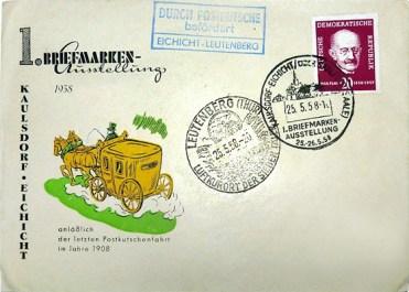 Brief: Umschlag mit Postkutschenbild + Stempel (Durch Postkutsche befördert)