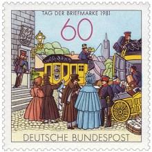 BRD-Briefmarke (2010): Szene an einer Poststation um 1855