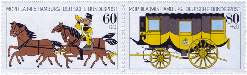 Briefmarken: Postillion auf einem von vier Pferden reitend und histor. Kutsche