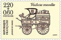 Briefmarke: alter Pferdepostwagen