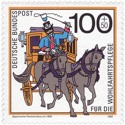 Briefmarke: Postillion mit Peitsche auf Kutschbock einer Langkutsche