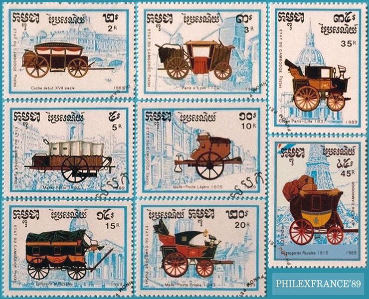 Briefmarken: historische Postkutschen 17.-19. Jh