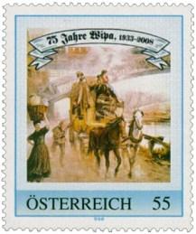 Briefmarke: Postkutsche unter Eisenbahnbrücke