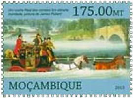 Briefmarke: Kutschfahrt bei Hochwasser