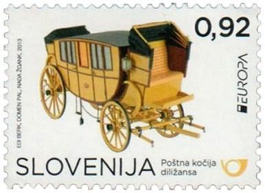 Briefmarke: gelbe Postkutsche mit großer Reisekabine