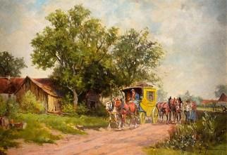 Gemälde: Postkutsche kommt in einem Dorf an