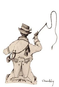 Zeichnung: Postkutscher mit Posthorn und Peitsche von hinten