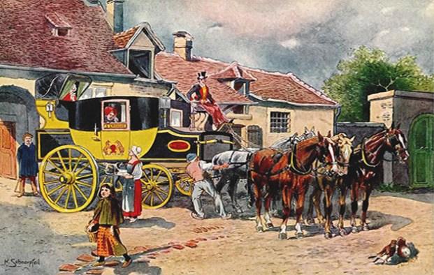 Gemälde: an Posthalterei werden Pferde einer Postkutsche ausgetauscht