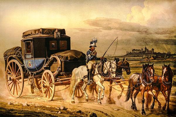 Gemälde: Postillion reitet auf einem der vier vorgespannten Pferde