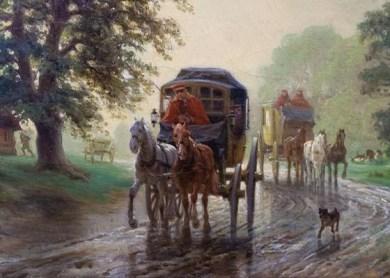 Gemälde: zwei Postkutschen bei Regen auf aufgeweichtem Landweg
