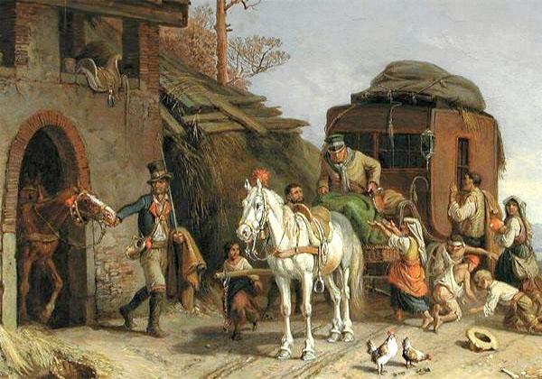 Gemälde: Einspänner-Kutsche erhält frisches Pferd, umlagert von Bettelkindern