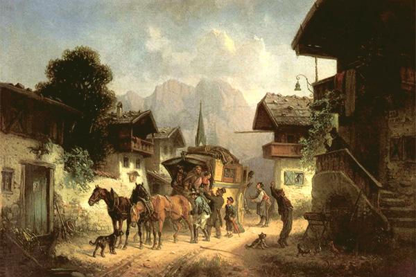 Gemälde: Leute begrüßen die im Dorf angekommene Postkutsche