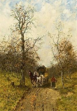 Gemälde: Postkutsche bei Sonnenschein auf Waldweg