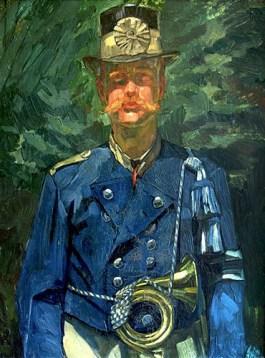 Gemälde: Postillion mit blauer Dienstjacke, Zylinder und umgehängtem Posthorn