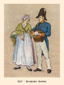 Farblitho: Postbote übergibt Frau einen Brief - 1820