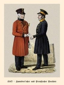 Farblitho: Postbote aus Hannover übergibt dem Preußischen einen Brief - 1843