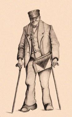 Zeichnung: freundlicher älterer Postbote mit Klumpfuß an zwei Gehstöcken - 1855