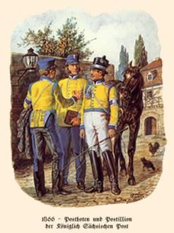 Farblitho: 2 Postboten plaudern auf Gehöft mit Postillion - 1866