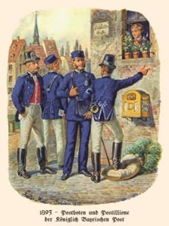 Farblitho: 2 Postboten im Gespräch mit 2 Postillionen vor Briefkasten - 1893