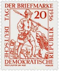 Briefmarke: Postläufer mit Spieß über Schulter - um 1450