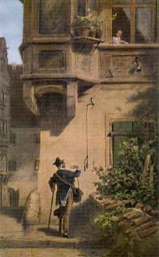 Gemälde: Postbote mit Holzbein und Gehstock winkt mit Brief Frau am Fenster in erster Etage zu - 1850