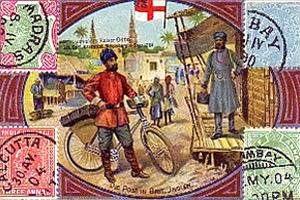 gemalte Karte: Postbote mit Fahrrad in einem Dorf - 1900