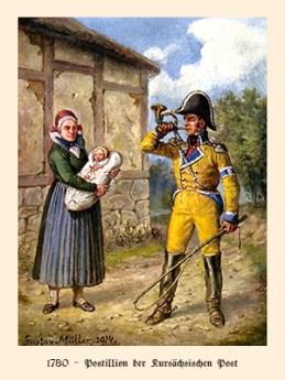 Farblitho: Postillion bläst zur Abfahrt ins Horn, daneben Frau mit Wickelkind