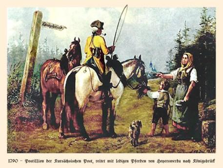 Farblitho: Postillion reitet mit ledigen Pferden nach Königsbrück